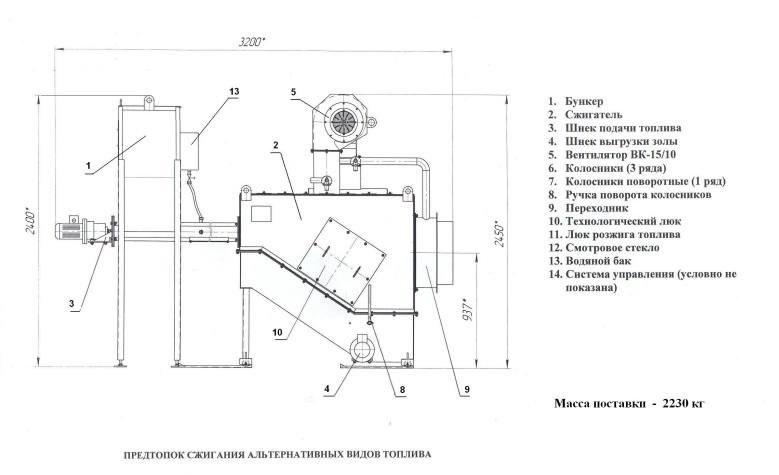 Предтопки (сжигатели для котлов).Мы занимаемся изготовлением предтопка котла к паровым и водогрейным котлам мощностью от 0,5 до 10 МВт. Купить предтопок